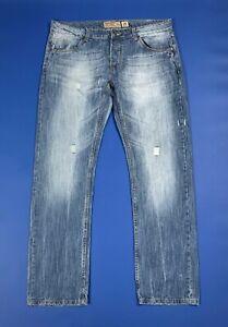 Alcott-jeans-uomo-usato-W40-tg-54-strappati-blu-denim-destroyed-boyfriend-T5958