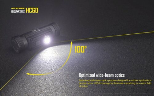 Nitecore HC60 Rechargeable Headlamp 1000Lm w//Nitecore EH1 Headlamp