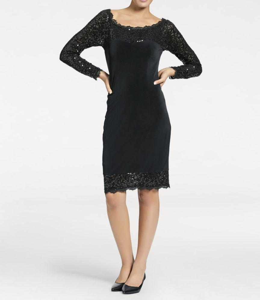 Kleid Cocktail Kleid Heine Ashley Brooke Pailletten schwarz Spitze Gr 40 42 46