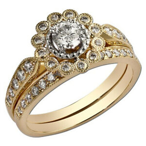 1.30 Ct Round Real Moissanite Anniversary Band Set Solid 18K Yellow Gold Size 8