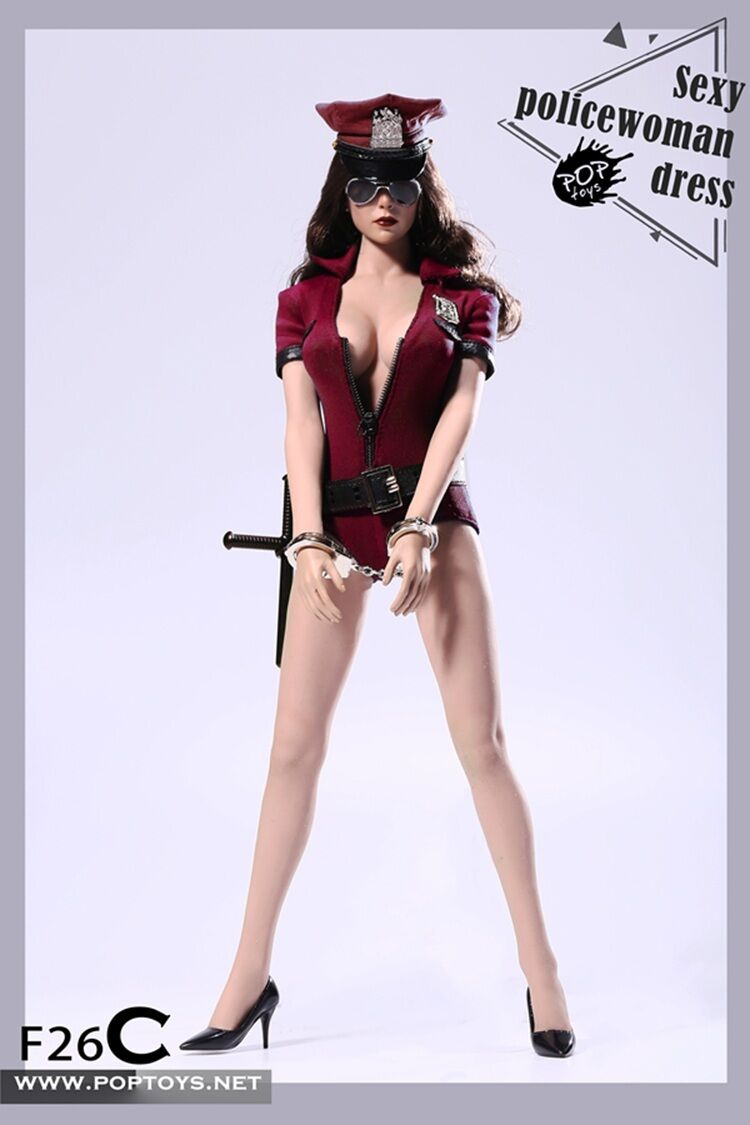 1 6 Cosplay POPTOYS F26 Sexy policewoman Red Dress suit set C ver