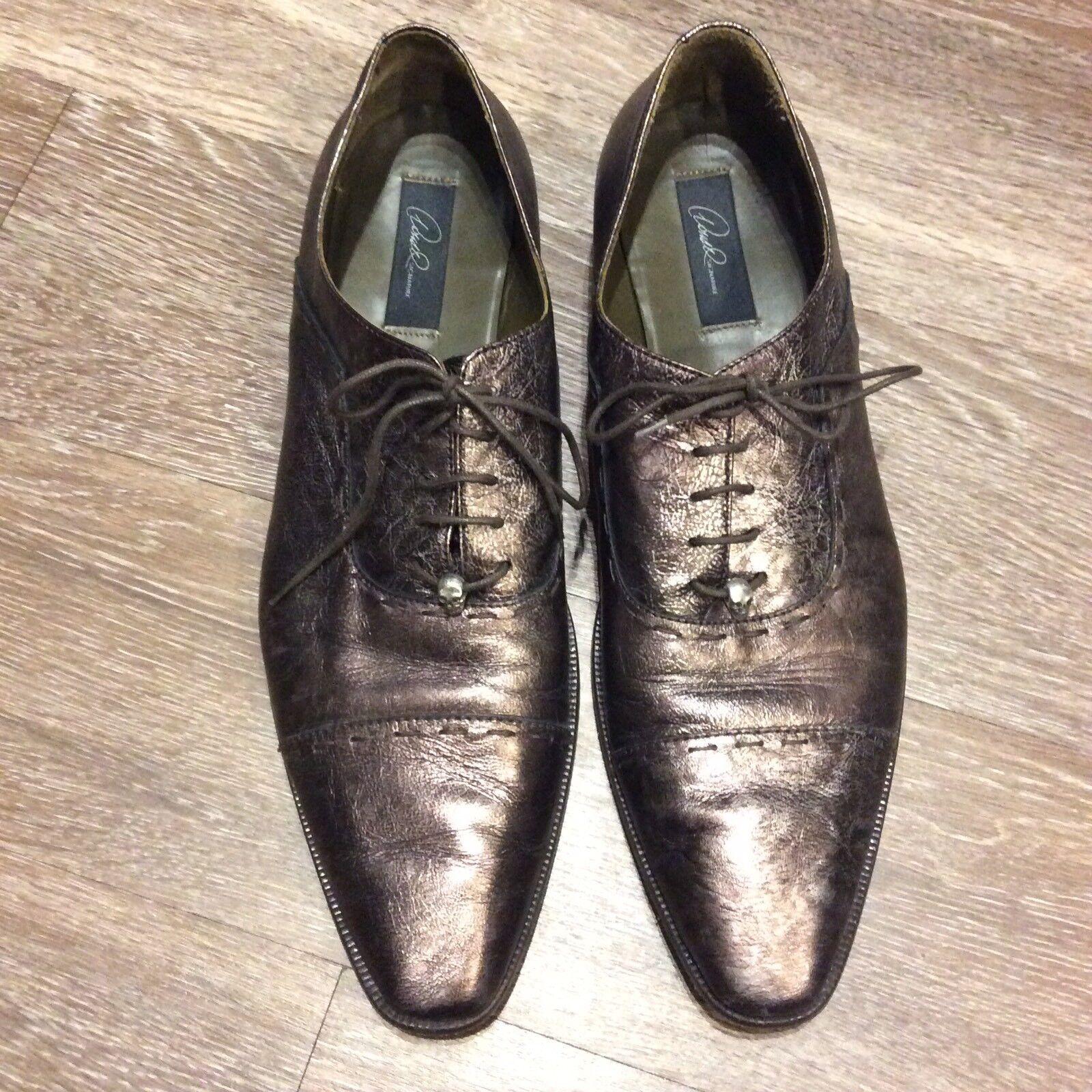 DONALD J PLINER AUTHOGRAPHED firmado Cuero Marrón Zapatos para hombre oxfords Metálico