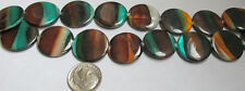 21 Mother of Pearl 20mm Disc Coin Beads Brown-Gold-Green Stripes