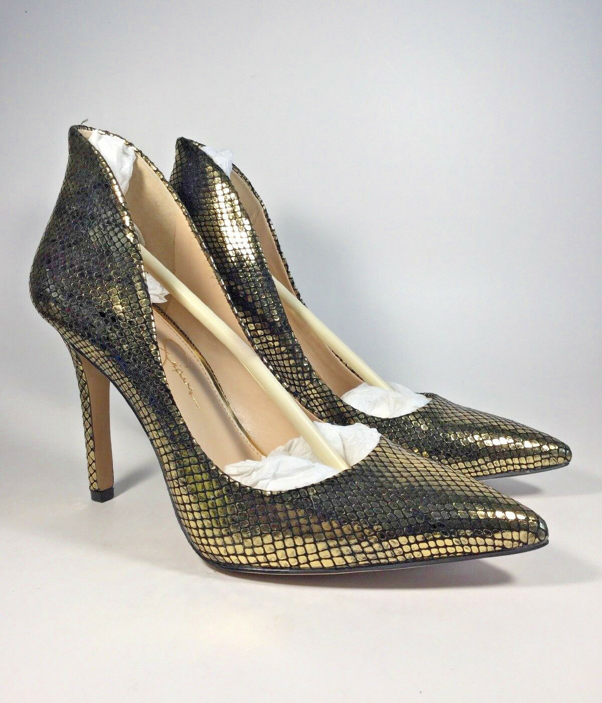 M3404 New Women's Jessica Simpson Cambredge Exotic gold Stamped Snake US 9.5 M