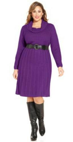 Agb Badgley Mischka Plus Size Dress 2x Belted Cowl Neck Eggplant Purple