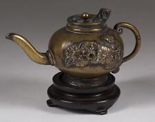 Japan Japanese Brass Miniature Teapot w/ Relief Floral Decoration ca. 19-20th c.