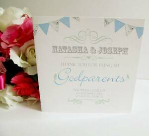 Personalised Godparents Thank You Card Godfather Godmother Friend