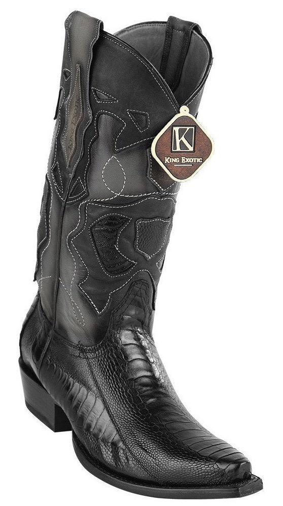 King Noir EXOTIC Snip Toe Véritable Autruche Jambe Cowboy Western démarrage 94DR0505