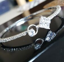 *UK* 925 SILVER PLATED CZ AAA LOVELY  BRACELET / BANGLE LADIES GIFT