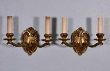 Vintage French Bronze Sconces Louis XV Bronze Antique Candelabra (K)
