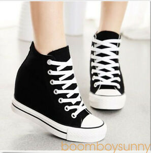 Womens-Wedge-High-Top-Canvas-Fashion-Lace-Up-Hidden-Sneakers-Athletic-Shoes