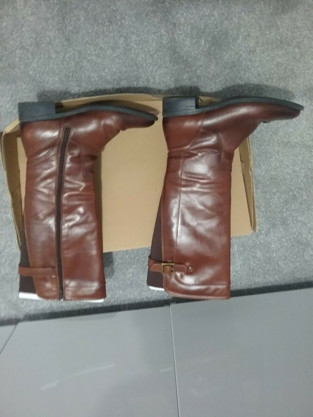 LADIES CLARKS JENNA BROWN LEATHER KNEE LENGTH BOOTS