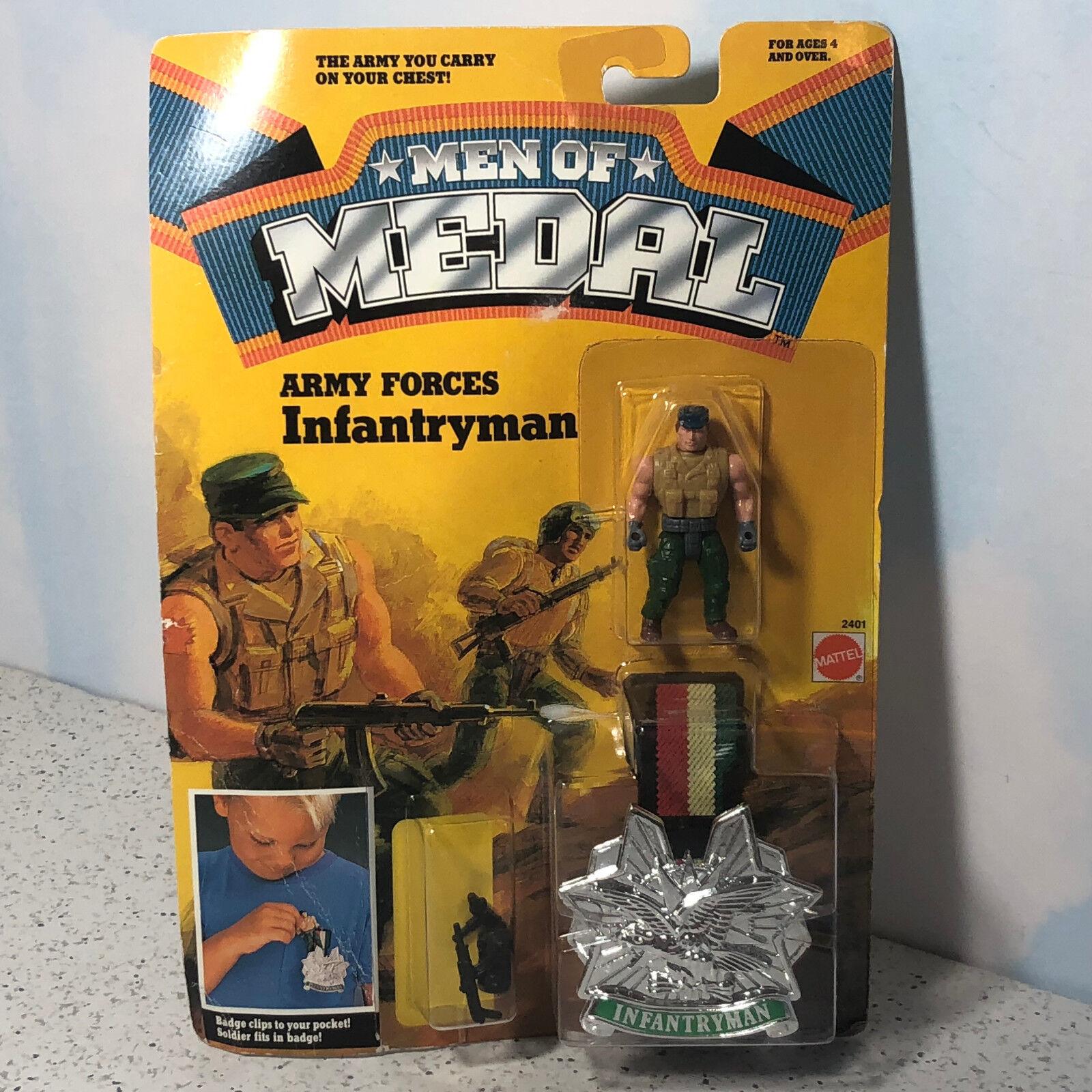 1988 MATTEL MEN OF MEDAL MOC ACTION FIGURE BADGE CLIP ON ARMY FORCES INFANTRYMAN