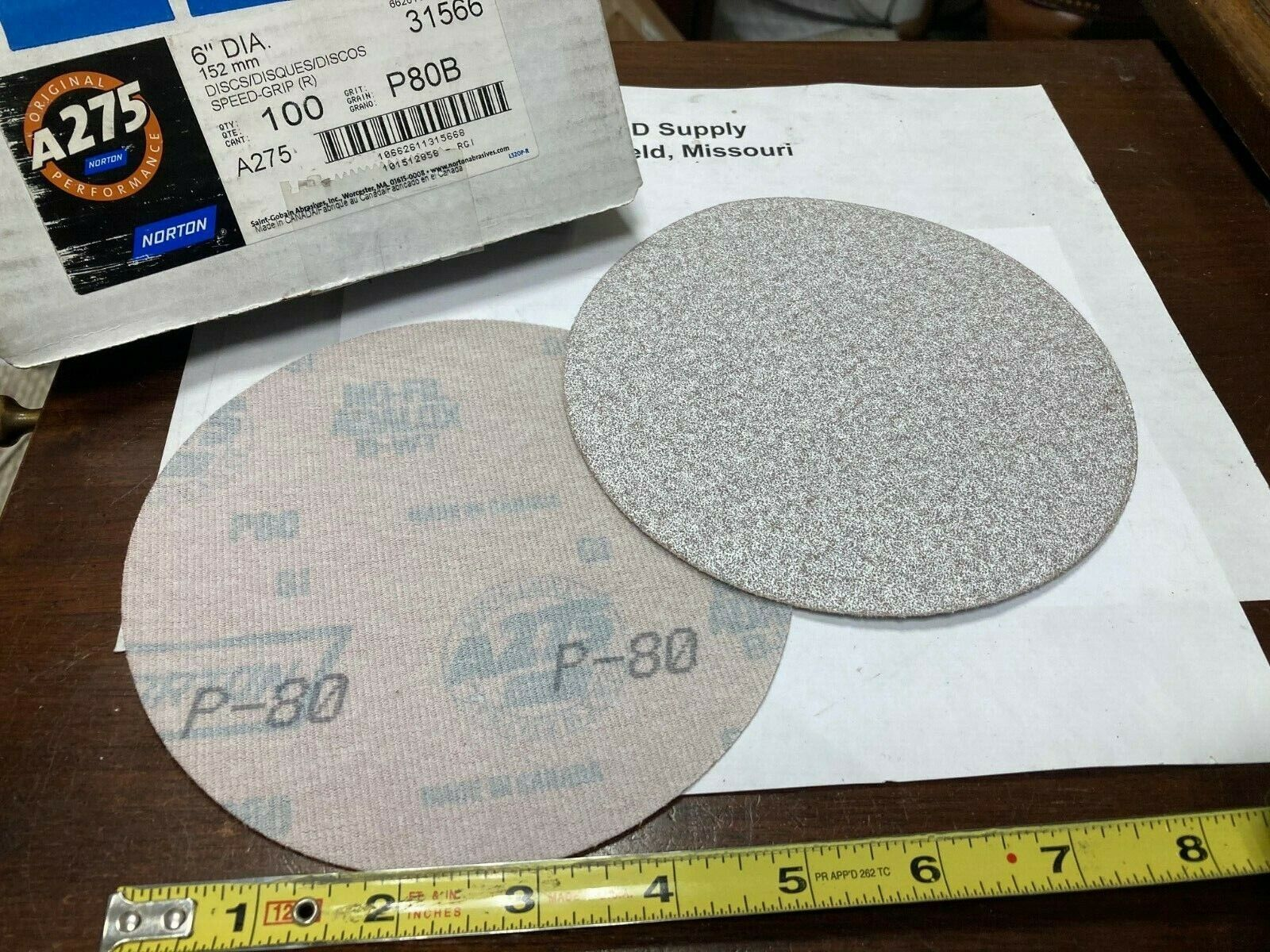 *** Box of 100 ***, Norton 66261131566, Sanding Discs, No Hole, 6