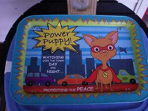POWER-PUPPY-VINTAGE-Metal-TV-Tray-Obscure-1990-039-s-Cartoon-Excellent-Used-Cond