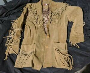 RARE-Sasson-Vintage-Camel-Suede-Leather-Fringed-Western-Jacket-Coat-Sz-11-12