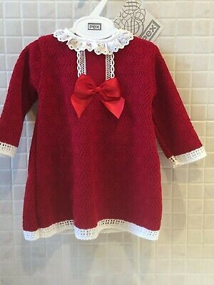 Pex Baby Girls Spanish Portuguese Knitted Long Sleeve Dress Bow Red Pink 0-12M