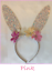 Easter-Bunny-Glitter-Ears-Headband-w-Flowers-Gold-OR-Pink-Peter-Rabbit thumbnail 2