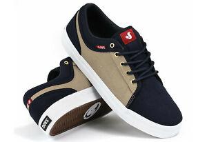 DVS-Shoes-Aversa-navy-tan-canvas-suede-Skate-BMX-MX-NEUWARE-Gr-44-5-47