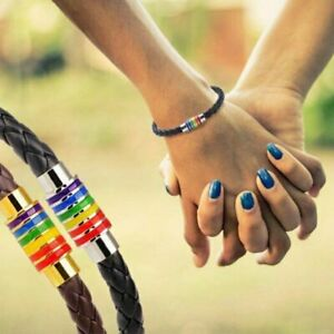 Titanium-Steel-Magnet-Bracelet-Rainbow-Flag-LGBT-Pride-Charm-Gay-Leather-Jewelry