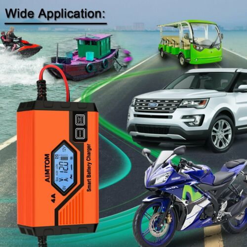 Smart Car Battery Charger 6V 12V 1A 4A  Maintainer Trickle Lead Acid AGM//GEL//WET