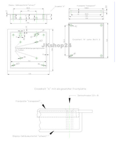 KEMO G100 Display-Gehäuse Box 130 x 130 x 17 mm Präsentation Kunststoff schwarz