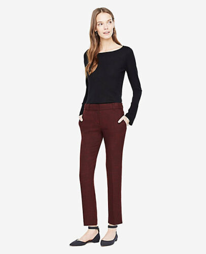NWT Ann Taylor Crosshatch Double Cloth Kate Fit Ankle Pant Lined 4