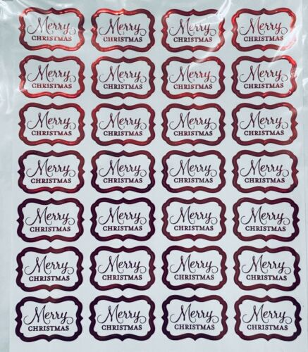 28 Red Foiled Merry Christmas Envelope Seals Clear Back Stickers Labels