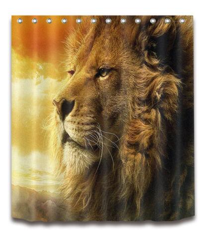 "Waterproof Fabric 72x72/"" Shower Curtain Liner Set Bathroom Mat King Lion Theme"