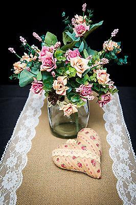 4 METRE QUALITY BURLAP JUTE HESSIAN DOUBLE LACE VINTAGE WEDDING TABLE RUNNER
