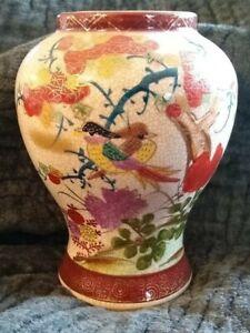 Vintage Japanese Imari Crackle Porcelain Floral Vase Gold Trim Birds Marked