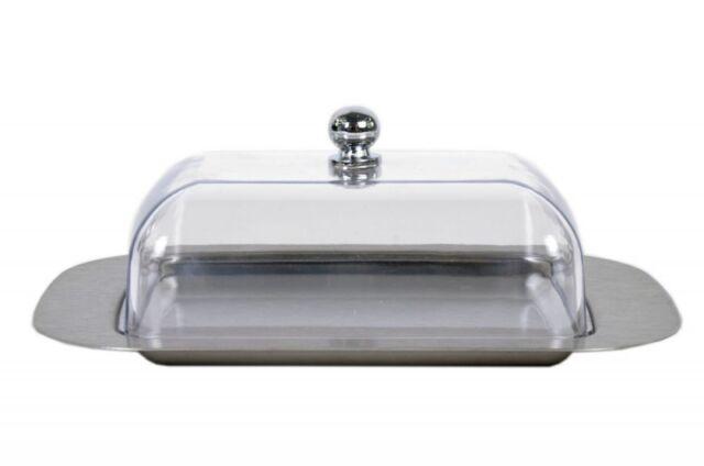 Steel Butter Dish Cover Plastic Lid Kitchen Tableware Fridge Storage Tray Holder