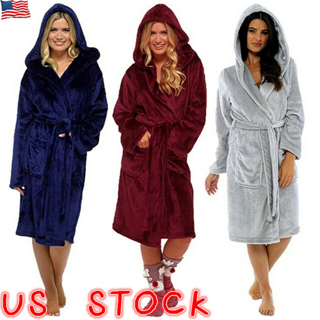 Ladies Girls Robe Sherpa Lined Hooded Dressing Gown