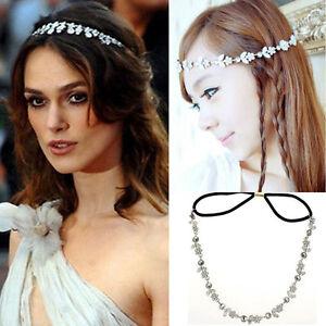 New Women Fashion Elastic Metal Rhinestone Crystal Headband Head Chain Hair Band