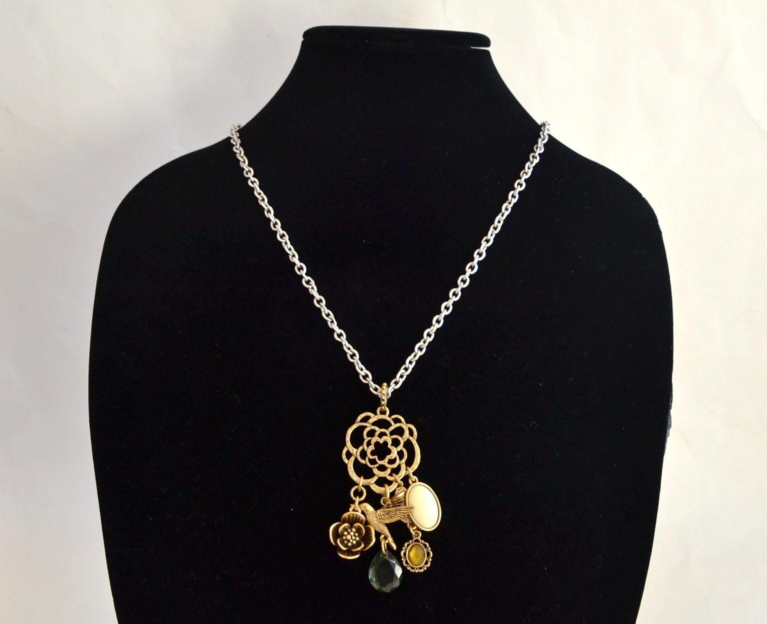 Nuovo - Lucky Brand argentoo + Colore oro oro oro Fiore Misto Donna Collana c6c4bc