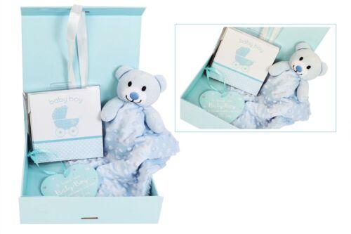 Baby Shower Gift Set Boy Girl Pink or Blue Comforter Cards Plaque Box Set
