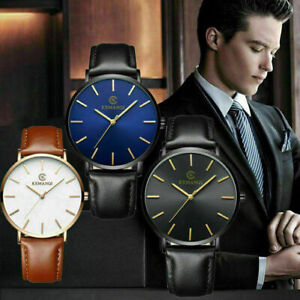 Stylish-Men-039-s-Leather-Band-Analog-Quartz-Round-Wrist-Watch-Men-039-s-Business-Watch