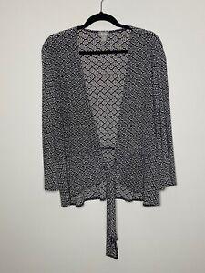 Chico's Travelers 3 Black Cardigan Sweater Geometric Tie Front Long Sleeve