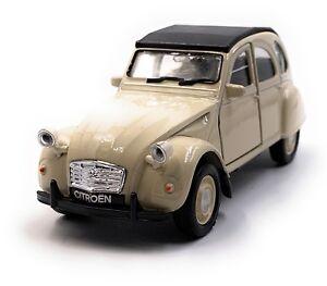 Citroen-2CV-Modellino-Auto-IN-Beige-Scala-1-3-4-Licenza
