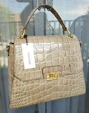 New BRAHMIN Brinley Portsmouth Beige Croc Embossed Leather Satchel Bag $395