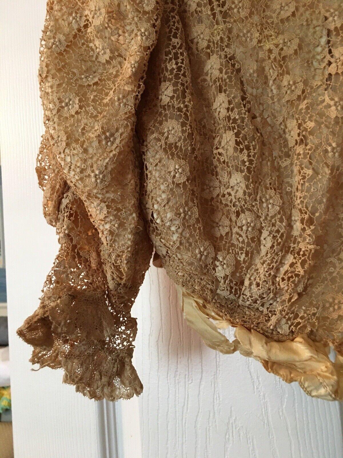 Antique Victorian Schiffli Chemical Lace Bodice L… - image 4