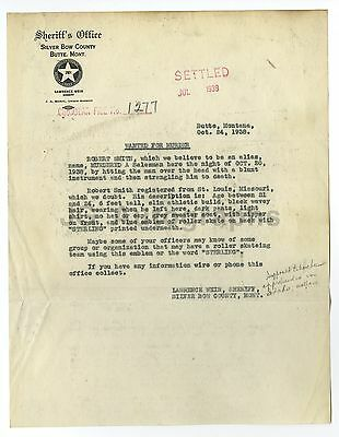 Montana 1938 Sufficient Supply Robert Smith/murder Butte Wanted Notice