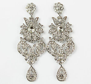 314ecc1601ba La imagen se está cargando Largo-Arana-Cristal-Vintage -Estilo-Diamante-Colgantes-Aros-