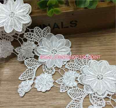 HB72 1 Yard Lace Trim Ribbon Wedding Dress Embroidered Sewing Applique Craft DIY
