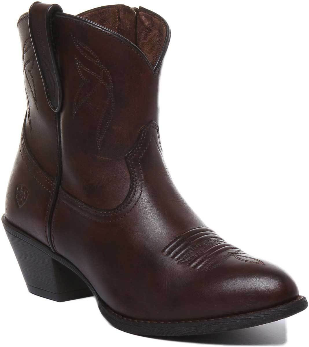 Ariat Darlin Women Leather Dark Brown Western Ankle Boots UK Size 3 - 8