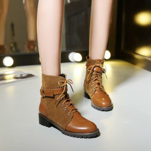 Details about  /3 Colors Women Office Work British Style Low Heel Round Toe Ankle Boots 44//47 D