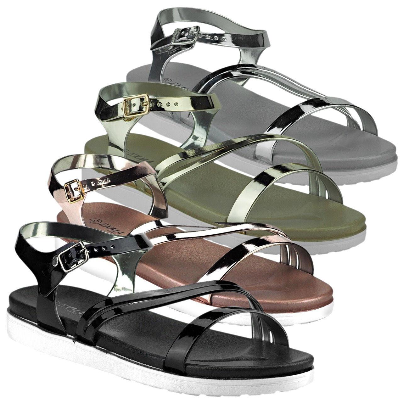 20033 FRESCO damensandalett<wbr/>en sandali scarpe donna metallizzato Vernice