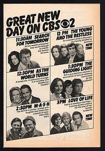 Details about 1979 CBS TV AD~SOAP OPERA'S~SEARCH FOR TOMORROW~GUIDING  LIGHT~AS THE WORLD TURNS