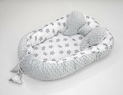 SET Kuschelnest Babynest Nestchen Reisebett  Baumwolle//Minky Lebkuchen 2 tlg.