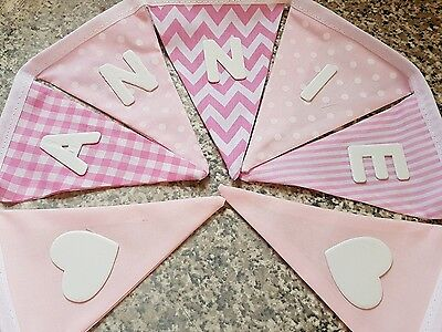 £1 PER FLAG BLUE MIX CHEVRONS /& SPOTS-ANY NAME PERSONALISED BUNTING FREE P/&P